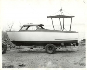 Steel boats - 24 foot Steel King on trailer, circa 1950's