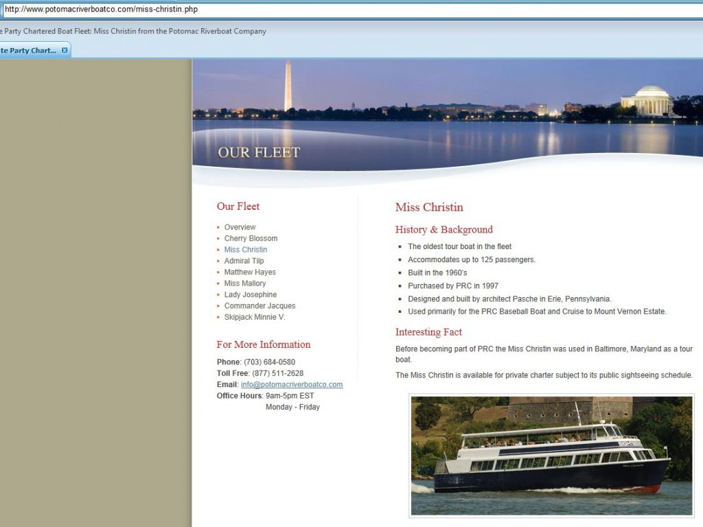 The Miss Christin, formerly ABL American Venus (courtesy http://www.potomacriverboatco.com/miss-christin.php